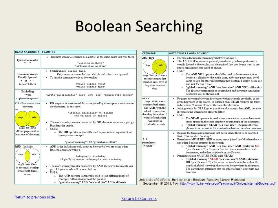 Boolean Searching Return to Contents Return to previous slide University of California, Berkley. (n.d.). Boolean. Teaching Library. Retrieved Septembe