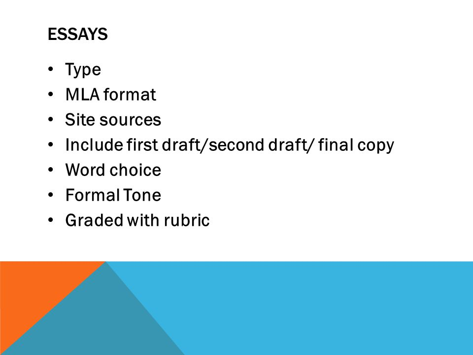 ESSAYS Type MLA format Site sources Include first draft/second draft/ final copy Word choice Formal Tone Graded with rubric