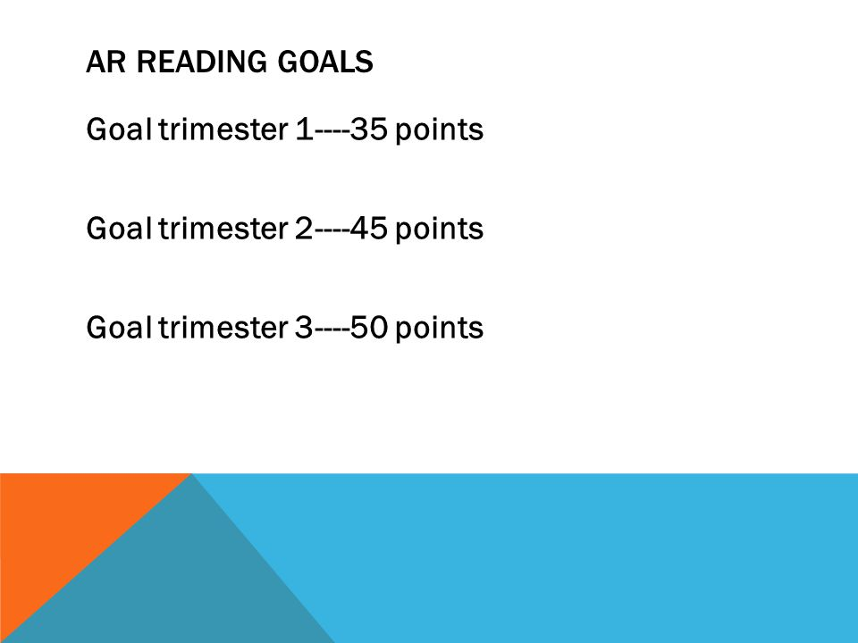 AR READING GOALS Goal trimester 1----35 points Goal trimester 2----45 points Goal trimester 3----50 points