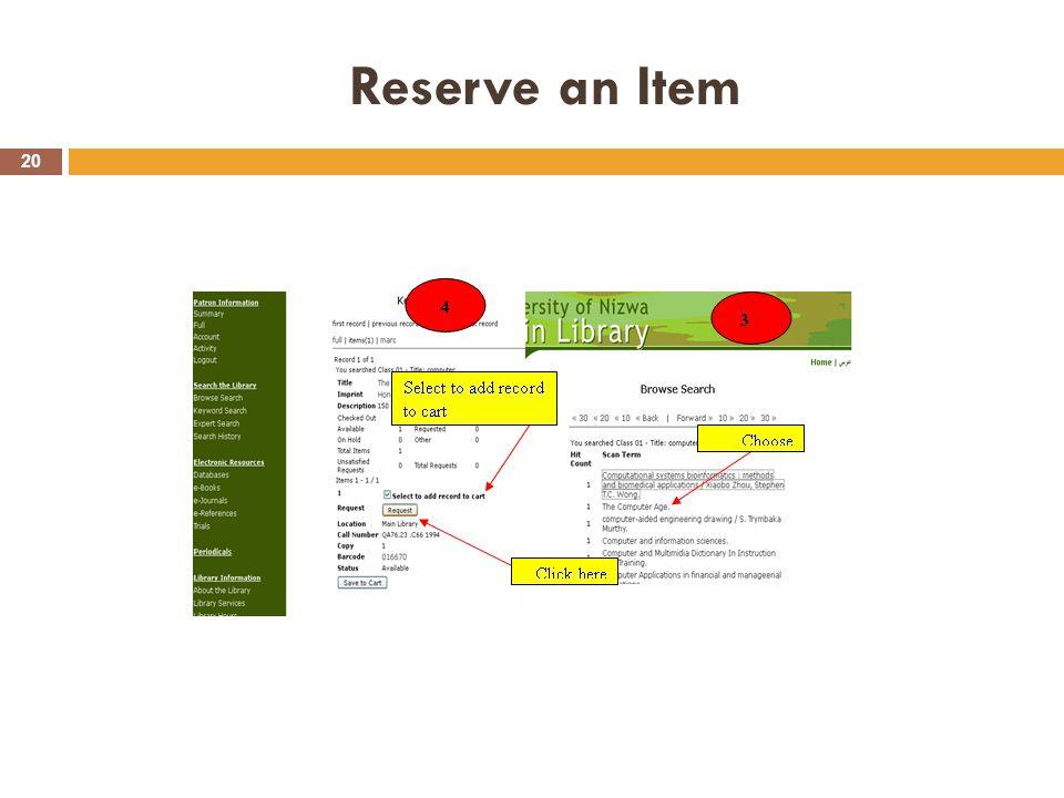 Reserve an Item 20