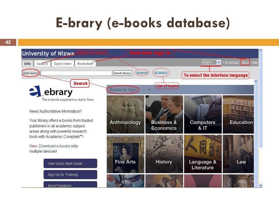 E-brary (e-books database) 42