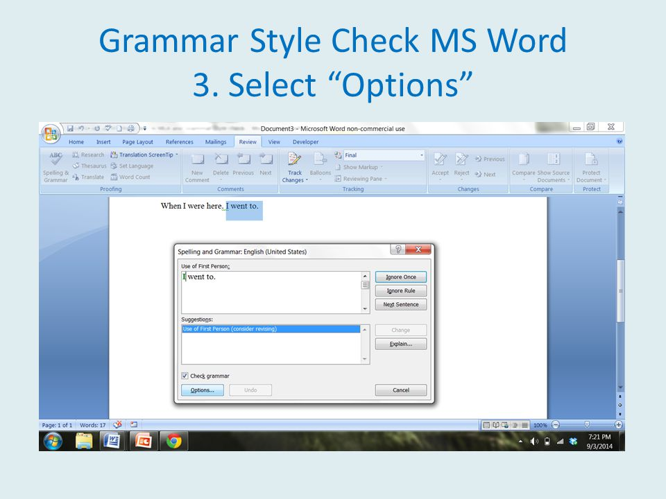 Grammar Style Check MS Word 3. Select Options