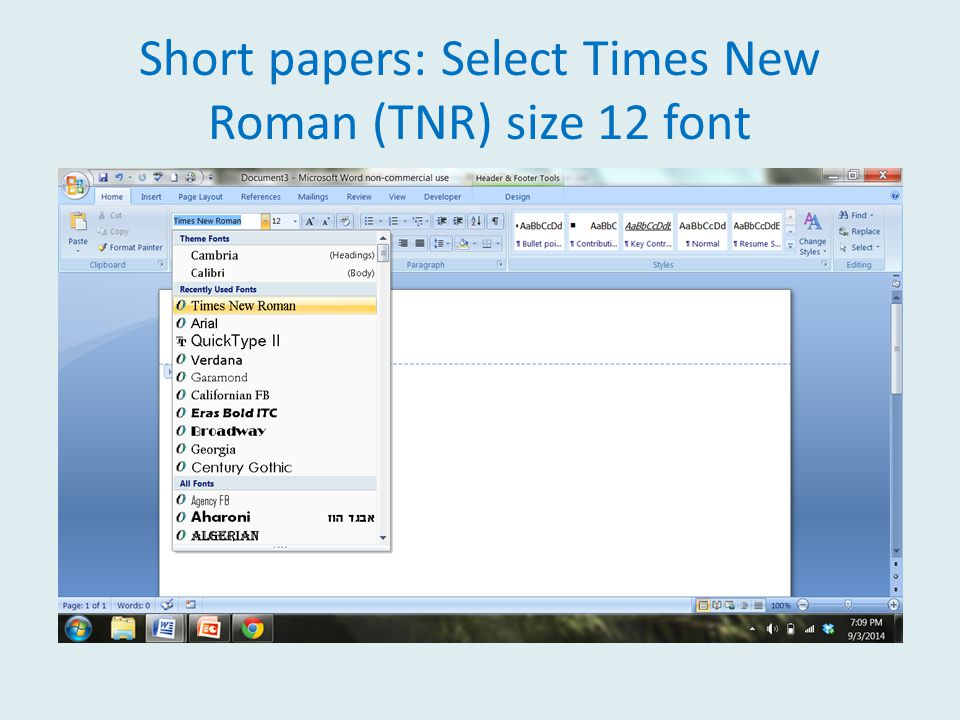 Short papers: Select Times New Roman (TNR) size 12 font
