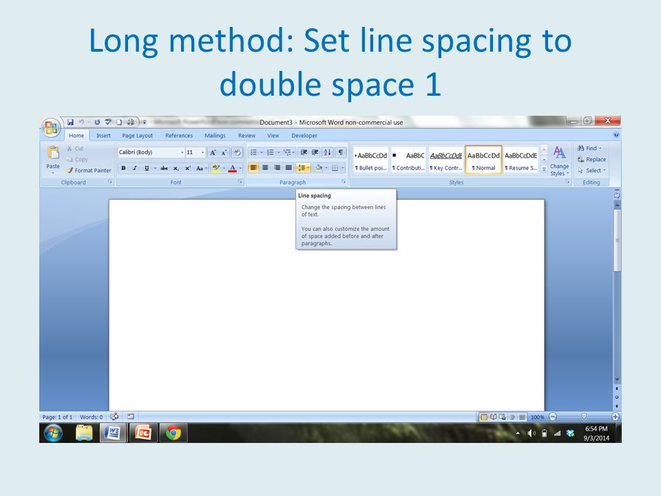 Long method: Set line spacing to double space 1
