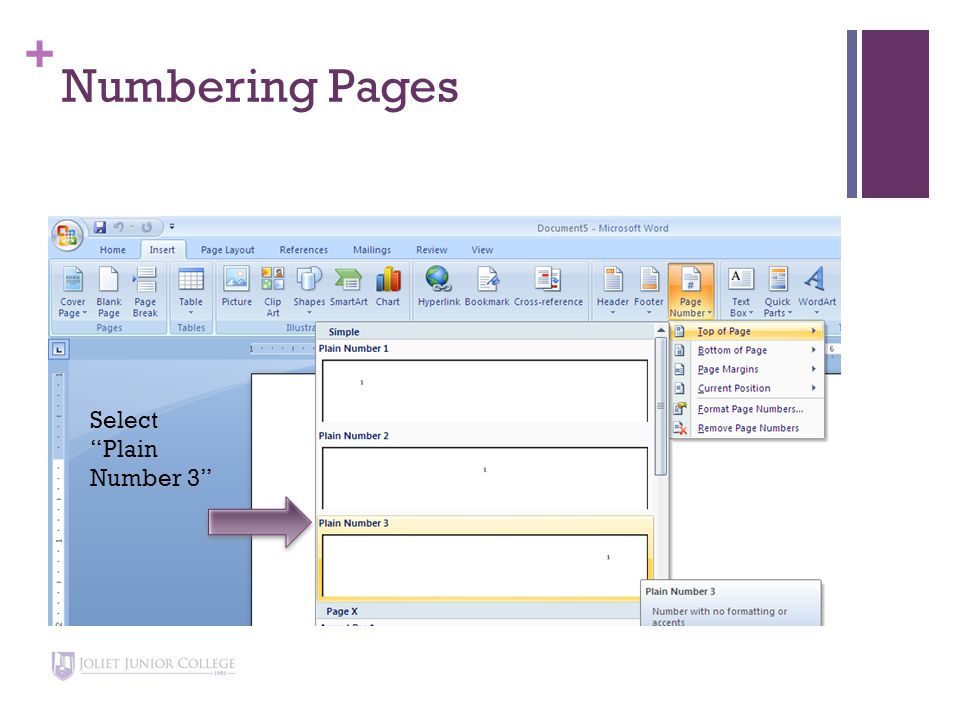 + Numbering Pages Type your last name, and add a space after your name.