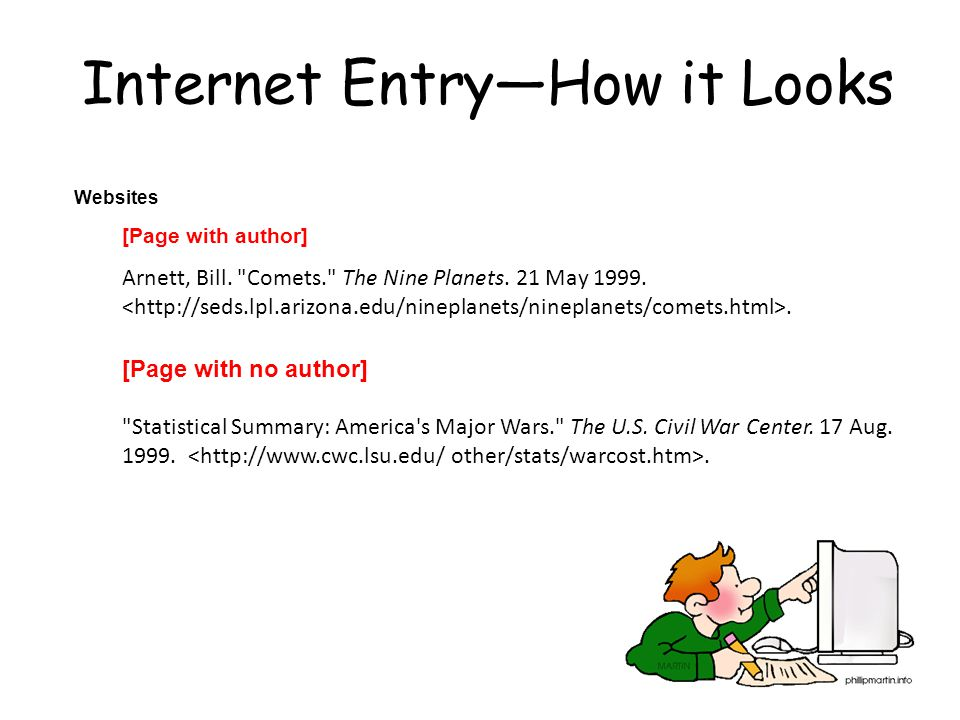 Internet Entry—How it Looks Websites [Page with author] Arnett, Bill.