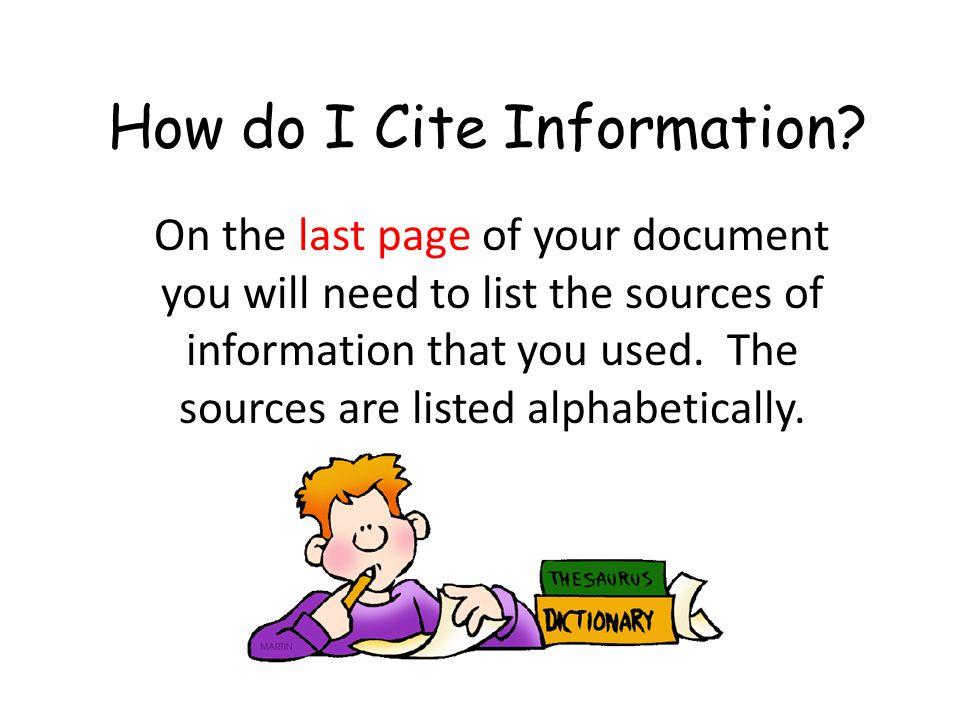 How do I Cite Information.