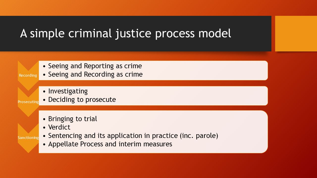 A simple criminal justice process model Recording Seeing and Reporting as crime Seeing and Recording as crime Prosecuting Investigating Deciding to prosecute Sanctioning Bringing to trial Verdict Sentencing and its application in practice (inc.