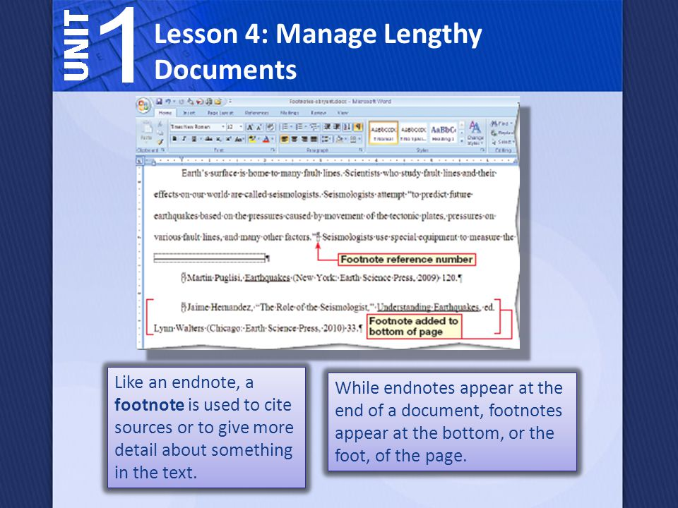 Like an endnote, a footnote is used to cite sources or to give more detail about something in the text.