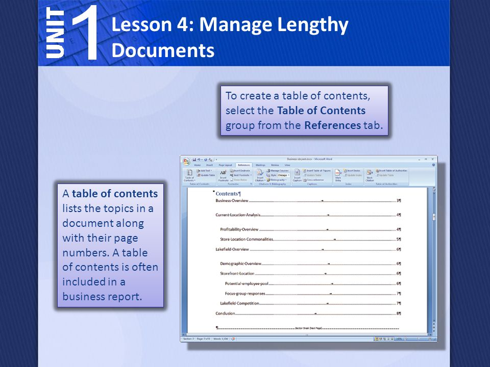 A table of contents lists the topics in a document along with their page numbers.