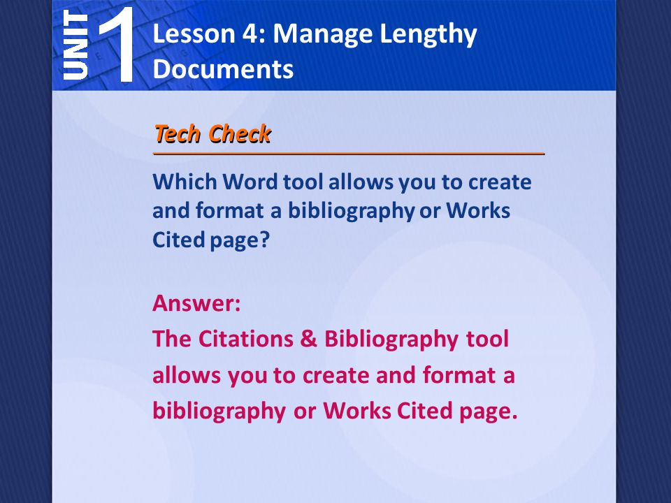 Which Word tool allows you to create and format a bibliography or Works Cited page.