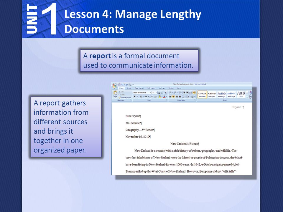 Lesson 4: Manage Lengthy Documents The main components of an academic research report are: The title and introduction.