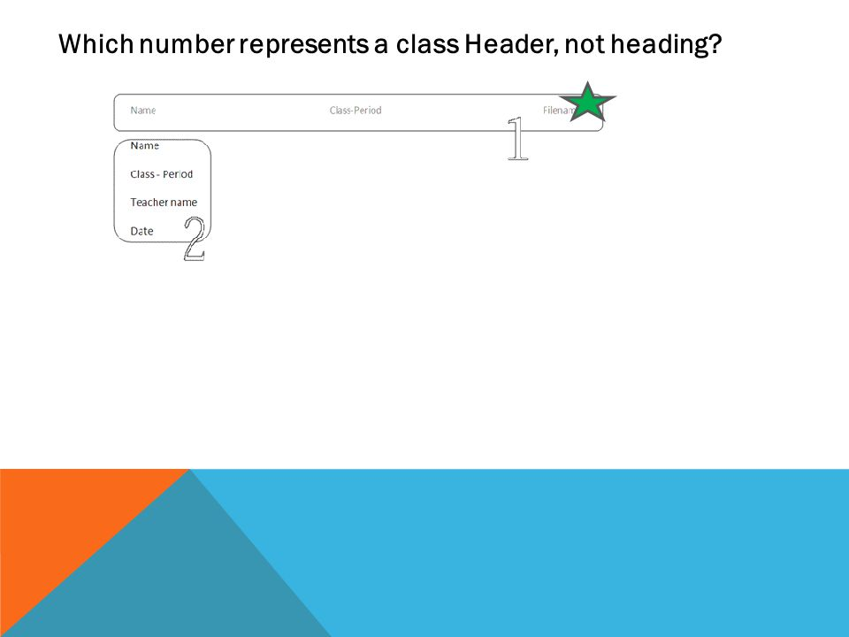 Which number represents a class Header, not heading
