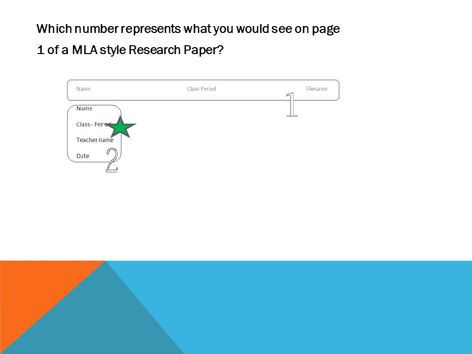 Which number represents what you would see on page 1 of a MLA style Research Paper