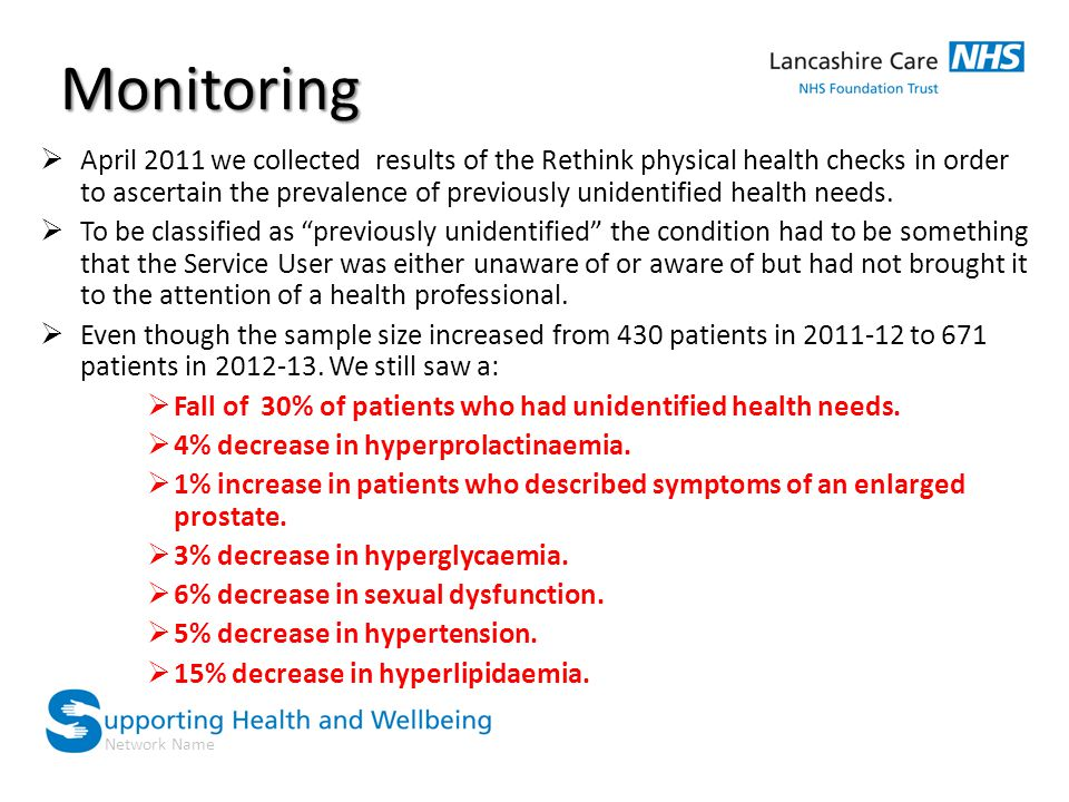 Network Name Monitoring  April 2011 we collected results of the Rethink physical health checks in order to ascertain the prevalence of previously unidentified health needs.