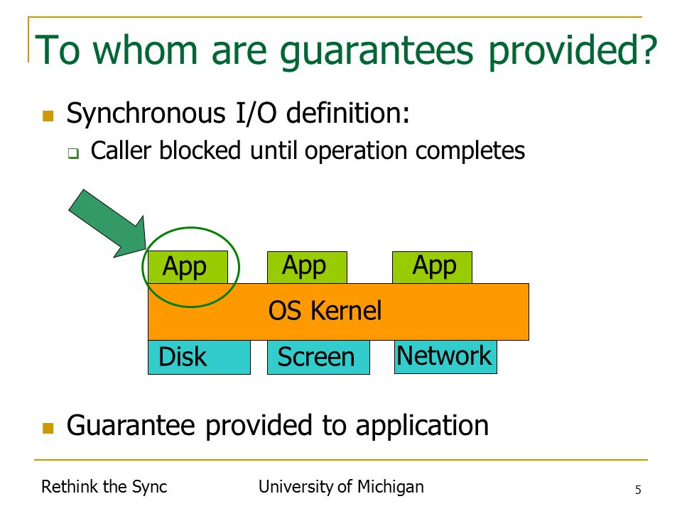 Rethink the Sync University of Michigan 5 To whom are guarantees provided.