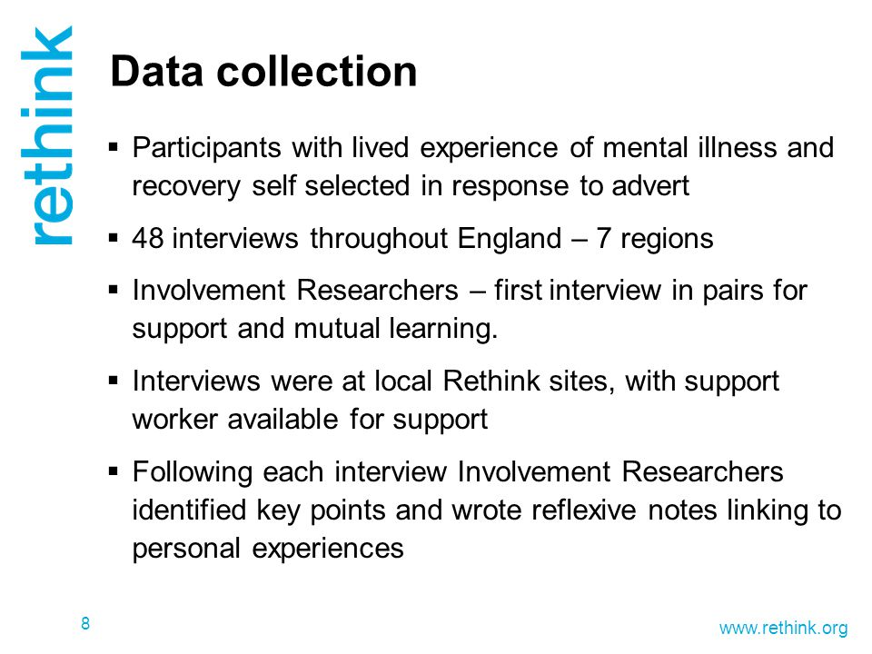 www.rethink.org Data collection  Participants with lived experience of mental illness and recovery self selected in response to advert  48 interview