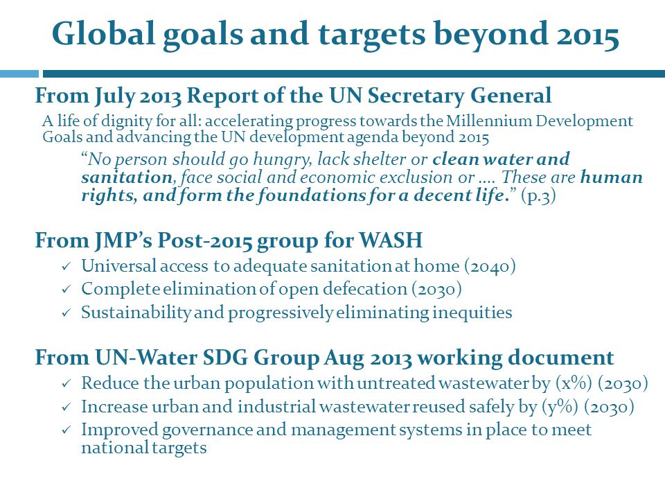 From July 2013 Report of the UN Secretary General A life of dignity for all: accelerating progress towards the Millennium Development Goals and advancing the UN development agenda beyond 2015 No person should go hungry, lack shelter or clean water and sanitation, face social and economic exclusion or ….