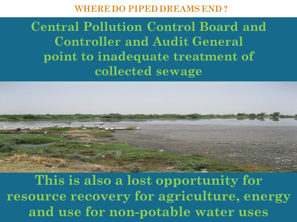 challenge Central Pollution Control Board and Controller and Audit General point to inadequate treatment of collected sewage WHERE DO PIPED DREAMS END .