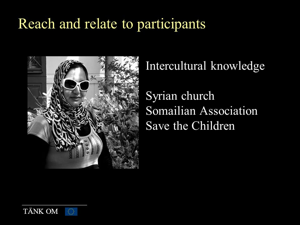 TÄNK OM In learning situations Lectures – thematic work Democracy, diversity, Red Cross, political parties, Study circles Health/language/ICT Mentoring Junior Chamber international Fullfill a task