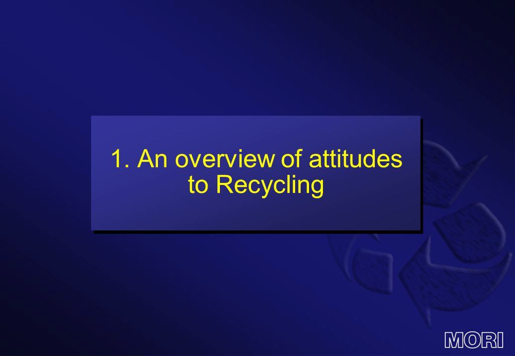 1. An overview of attitudes to Recycling