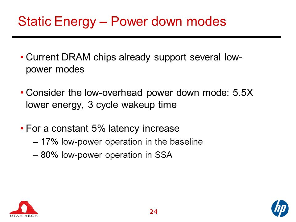 Static Energy – Power down modes Current DRAM chips already support several low- power modes Consider the low-overhead power down mode: 5.5X lower energy, 3 cycle wakeup time For a constant 5% latency increase –17% low-power operation in the baseline –80% low-power operation in SSA 24