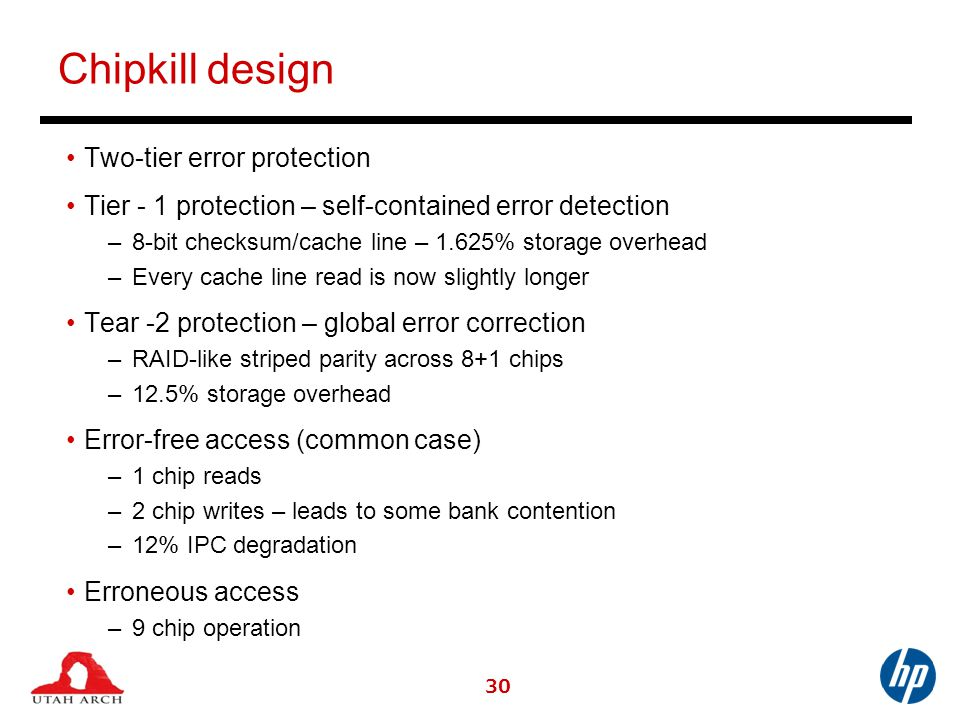 Chipkill design Two-tier error protection Tier - 1 protection – self-contained error detection –8-bit checksum/cache line – 1.625% storage overhead –Every cache line read is now slightly longer Tear -2 protection – global error correction –RAID-like striped parity across 8+1 chips –12.5% storage overhead Error-free access (common case) –1 chip reads –2 chip writes – leads to some bank contention –12% IPC degradation Erroneous access –9 chip operation 30