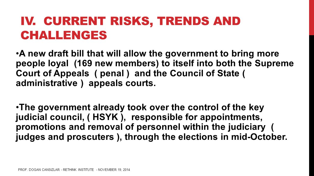 IV. CURRENT RISKS, TRENDS AND CHALLENGES A new draft bill that will allow the government to bring more people loyal (169 new members) to itself into b