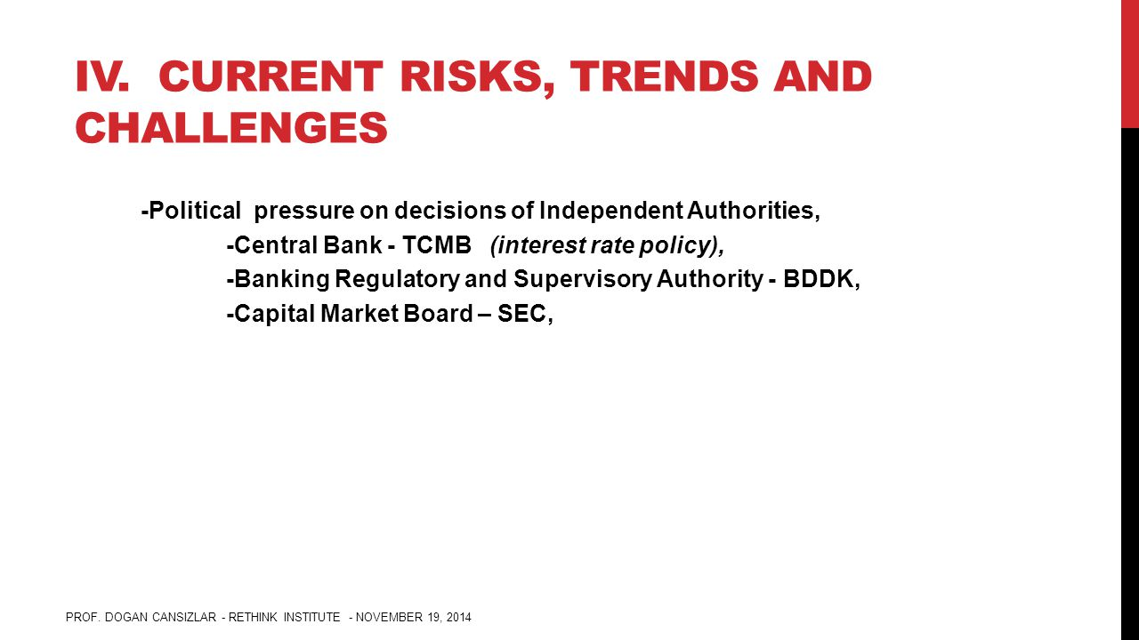 IV. CURRENT RISKS, TRENDS AND CHALLENGES -Political pressure on decisions of Independent Authorities, -Central Bank - TCMB (interest rate policy), -Ba