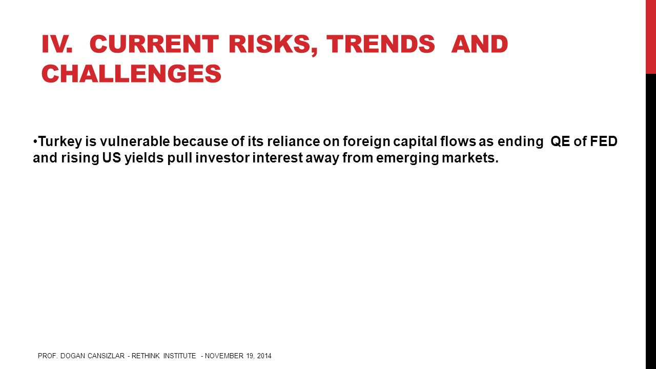 IV. CURRENT RISKS, TRENDS AND CHALLENGES Turkey is vulnerable because of its reliance on foreign capital flows as ending QE of FED and rising US yield