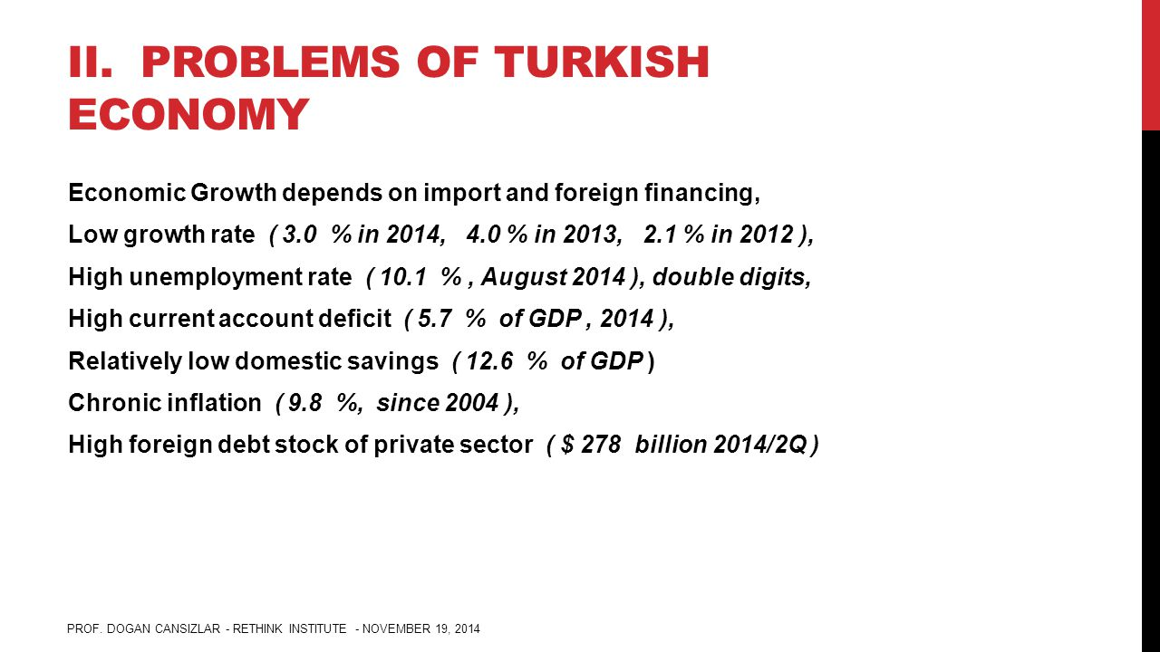 II. PROBLEMS OF TURKISH ECONOMY Economic Growth depends on import and foreign financing, Low growth rate ( 3.0 % in 2014, 4.0 % in 2013, 2.1 % in 2012