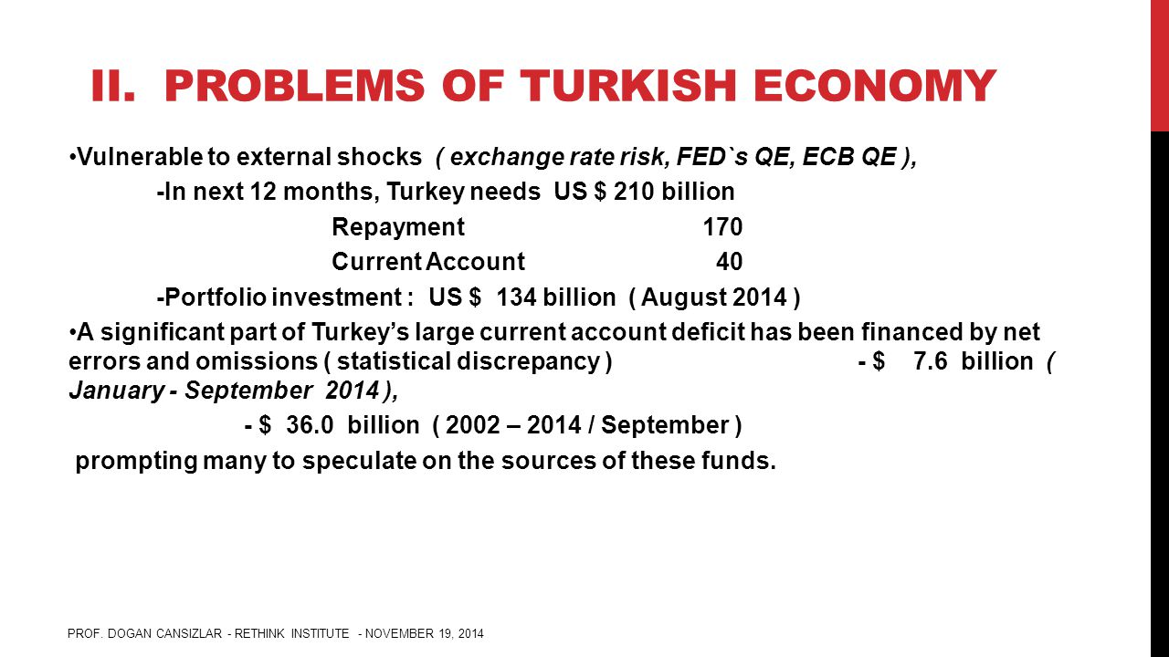 II. PROBLEMS OF TURKISH ECONOMY Vulnerable to external shocks ( exchange rate risk, FED`s QE, ECB QE ), -In next 12 months, Turkey needs US $ 210 bill