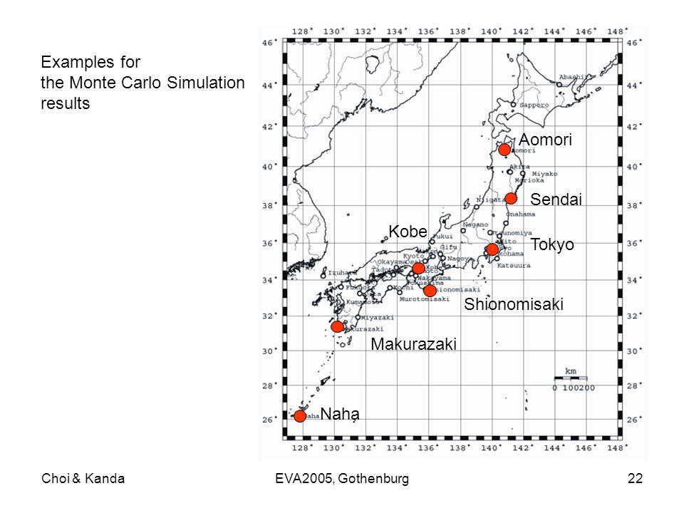 Choi & KandaEVA2005, Gothenburg22 Aomori Sendai Tokyo Shionomisaki Makurazaki Naha Examples for the Monte Carlo Simulation results Kobe