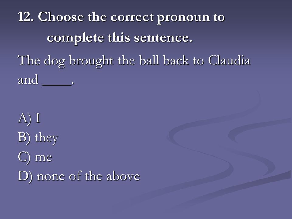 12. Choose the correct pronoun to complete this sentence.