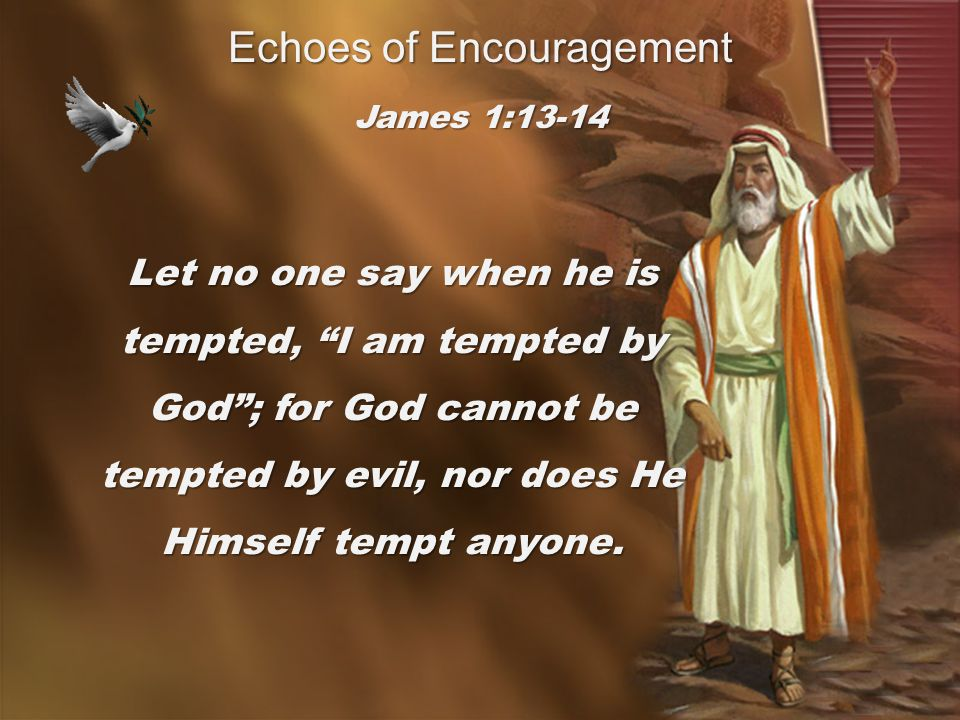 Let no one say when he is tempted, I am tempted by God ; for God cannot be tempted by evil, nor does He Himself tempt anyone.