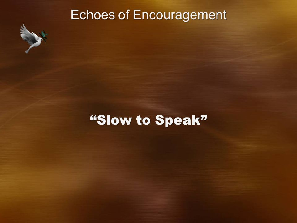 Slow to Speak Echoes of Encouragement