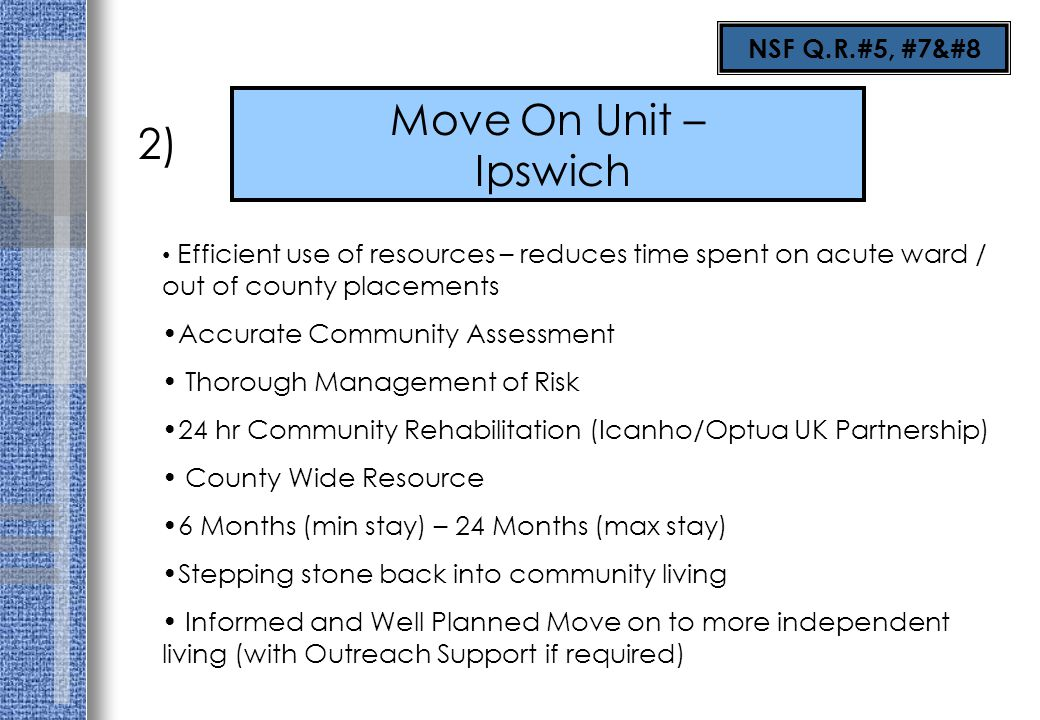 Move On Unit – Ipswich 2) Efficient use of resources – reduces time spent on acute ward / out of county placements Accurate Community Assessment Thoro