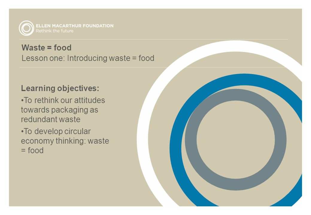 Waste = food Lesson one: Introducing waste = food Learning objectives: To rethink our attitudes towards packaging as redundant waste To develop circular economy thinking: waste = food