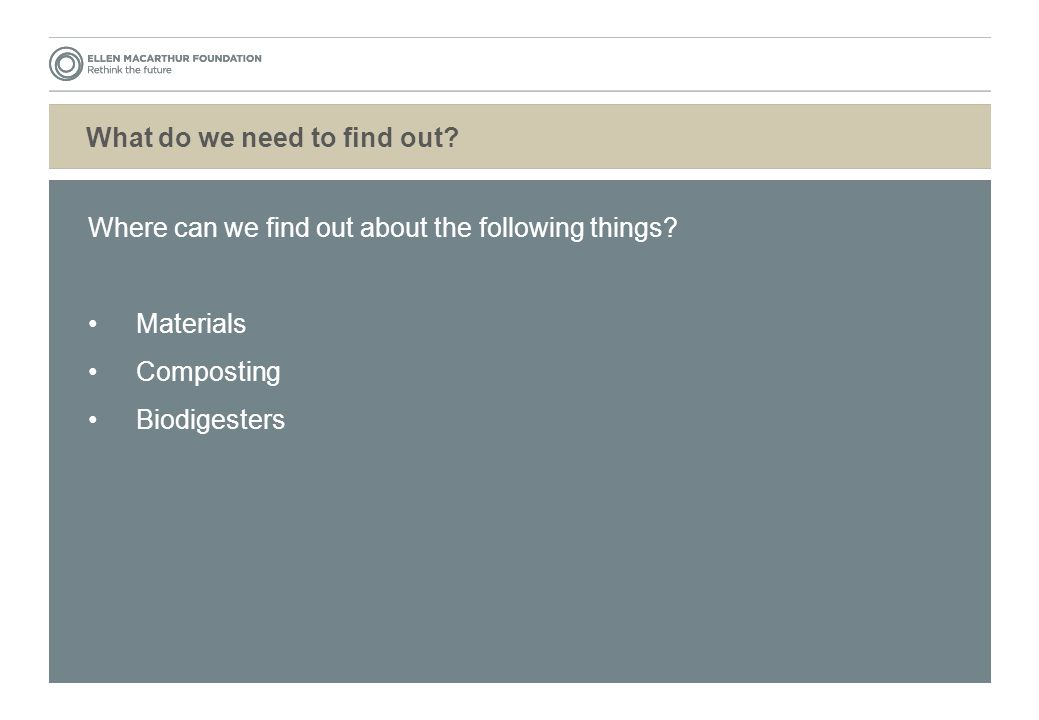 What do we need to find out. Where can we find out about the following things.