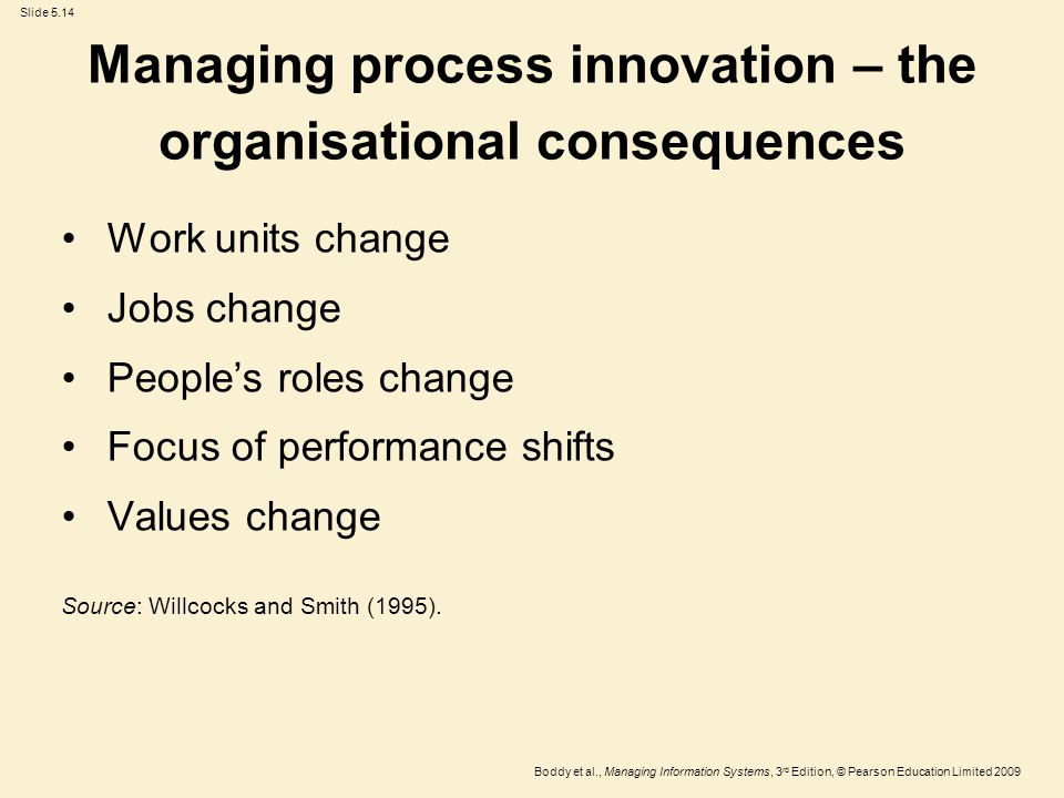 Slide 5.14 Boddy et al., Managing Information Systems, 3 rd Edition, © Pearson Education Limited 2009 Managing process innovation – the organisational consequences Work units change Jobs change People's roles change Focus of performance shifts Values change Source: Willcocks and Smith (1995).