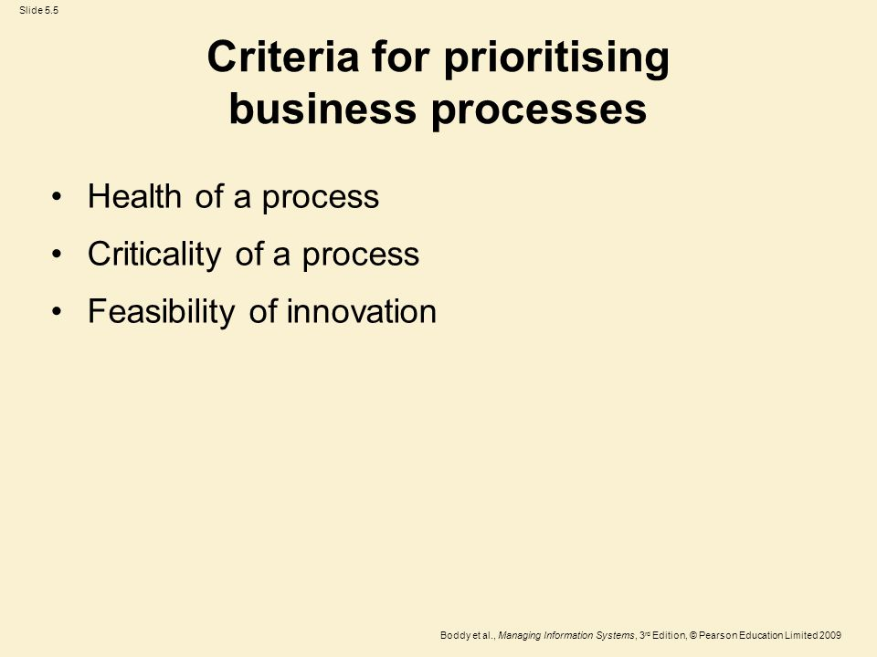 Slide 5.5 Boddy et al., Managing Information Systems, 3 rd Edition, © Pearson Education Limited 2009 Criteria for prioritising business processes Health of a process Criticality of a process Feasibility of innovation