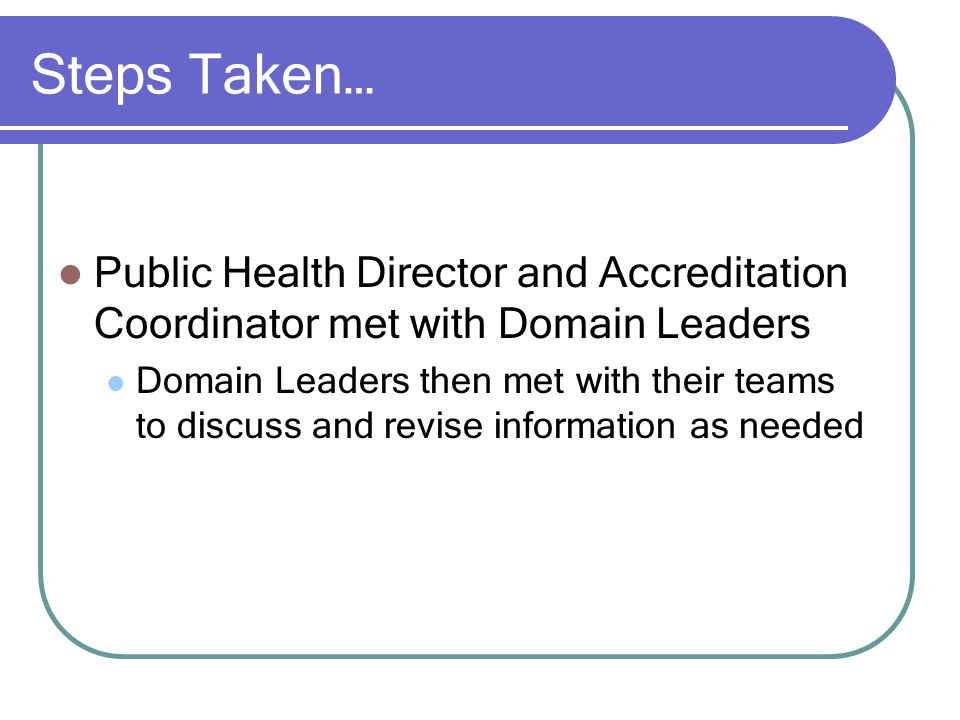 Steps Taken… Public Health Director and Accreditation Coordinator met with Domain Leaders Domain Leaders then met with their teams to discuss and revise information as needed