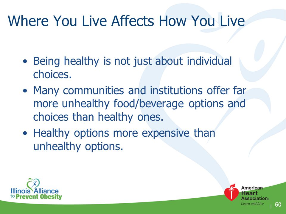 Where You Live Affects How You Live Being healthy is not just about individual choices. Many communities and institutions offer far more unhealthy foo