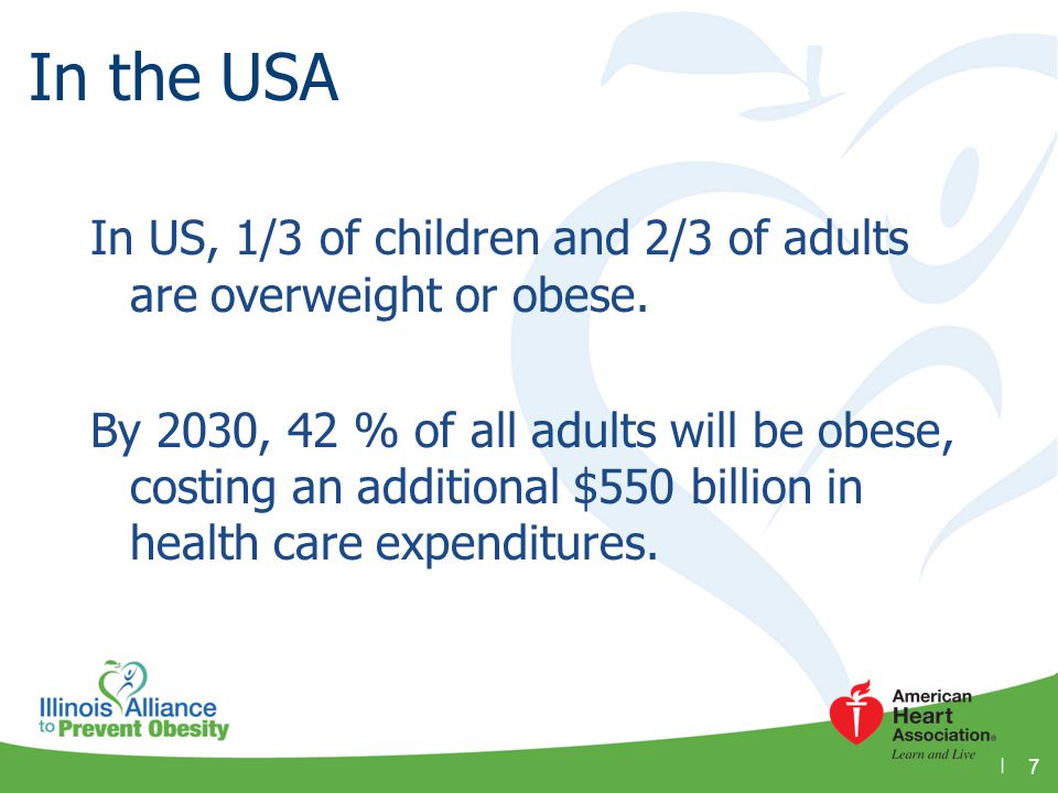 Obesity in Illinois In 1995, Illinois' obesity rate was 15.5%; today it is nearly double.