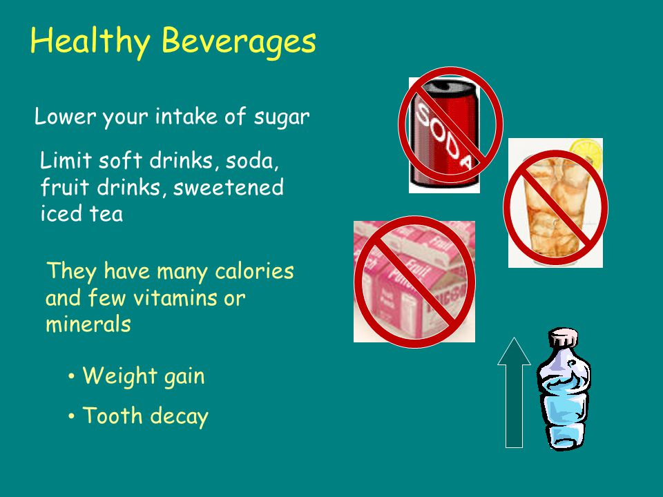 Rethink Think Your Drink Watch out for artificial sugar in drinks Maintain Hydration Healthy Drinks: –Water, milk and 100% fruit juice