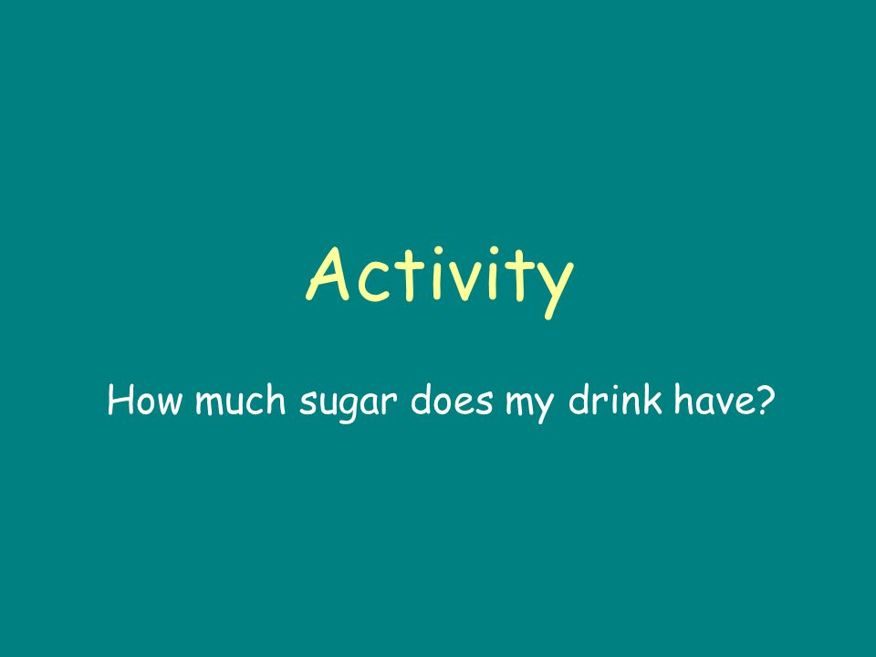 Activity How much sugar does my drink have?