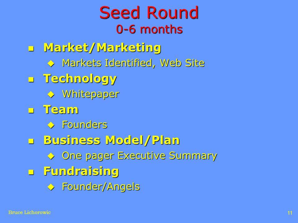 Bruce Lichorowic 11 Seed Round 0-6 months n Market/Marketing u Markets Identified, Web Site n Technology u Whitepaper n Team u Founders n Business Model/Plan u One pager Executive Summary n Fundraising u Founder/Angels
