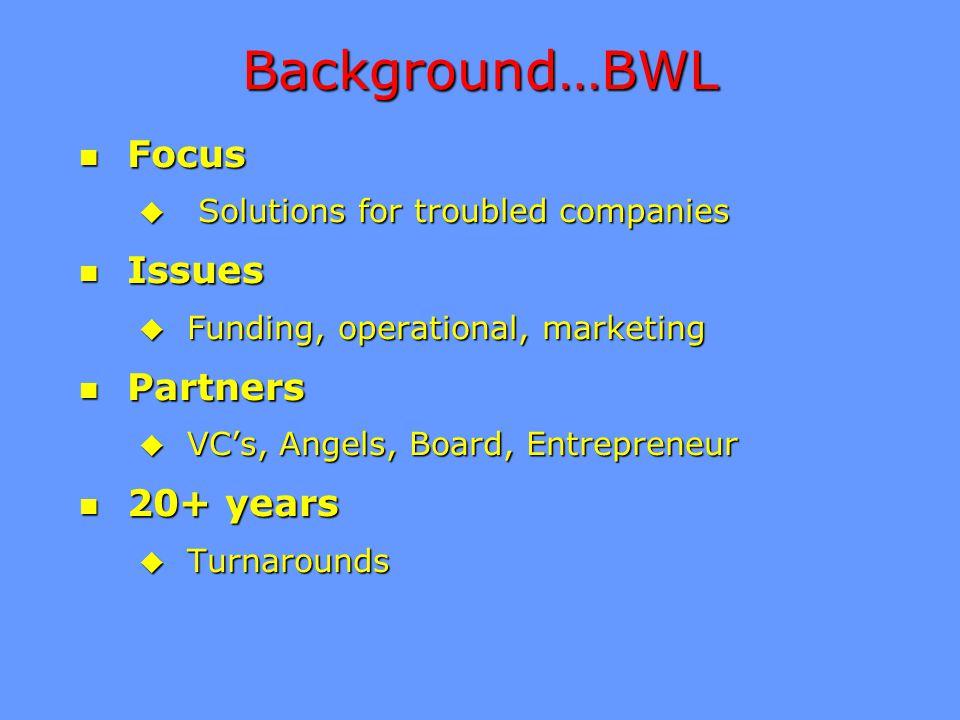 Background…BWL n Focus u Solutions for troubled companies n Issues u Funding, operational, marketing n Partners u VC's, Angels, Board, Entrepreneur n 20+ years u Turnarounds