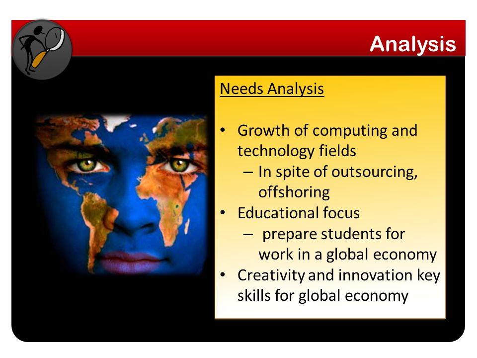 Needs Analysis Growth of computing and technology fields – In spite of outsourcing, offshoring Educational focus – prepare students for work in a global economy Creativity and innovation key skills for global economy Needs Analysis Growth of computing and technology fields – In spite of outsourcing, offshoring Educational focus – prepare students for work in a global economy Creativity and innovation key skills for global economy
