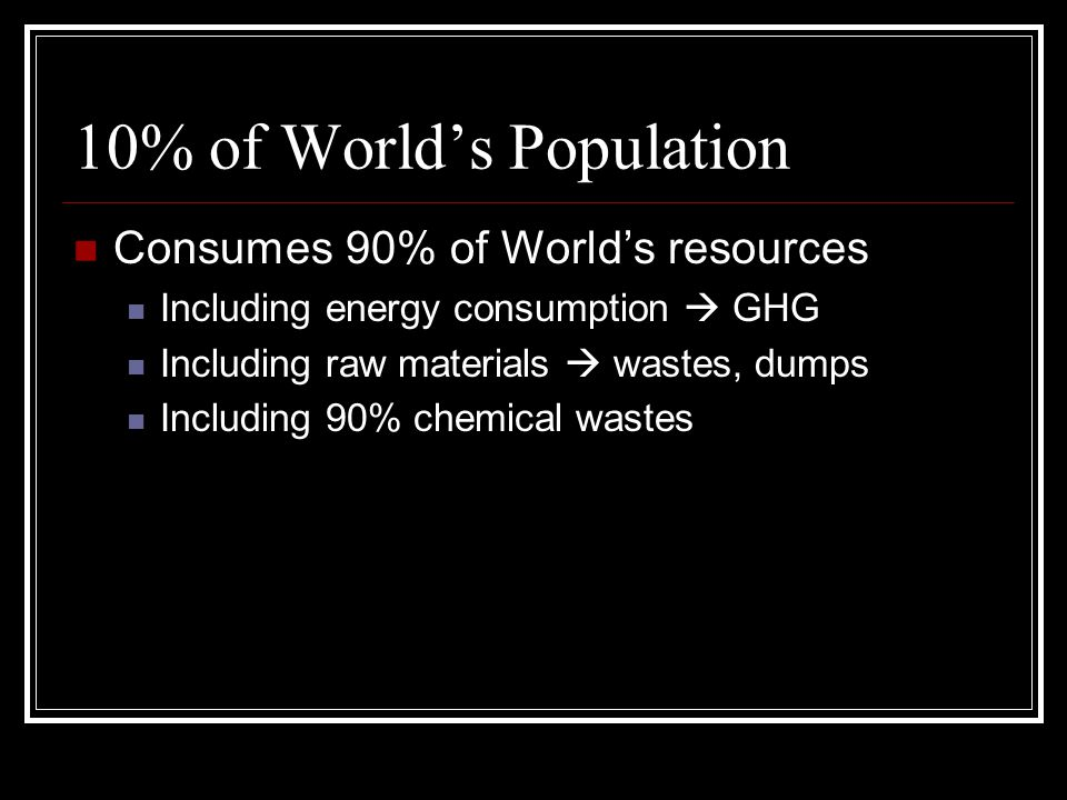 10% of World's Population Consumes 90% of World's resources Including energy consumption  GHG Including raw materials  wastes, dumps Including 90% chemical wastes